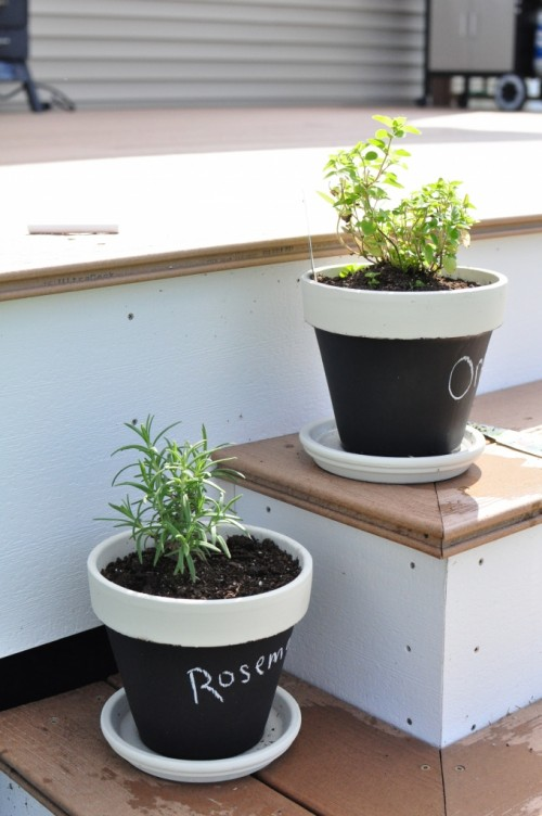 Herbs In DIY Chalkboard Pots (via shelterness)