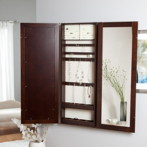 hidden wall mount jewelry armoire