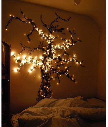 take a bunch of christmas light strings and turn them into a gorgeous glowing wall tree - Christmas Lights Bedroom Decor