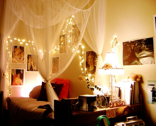 Christmas lights could become task lighting in general and replace traditional bedside wall lamps.