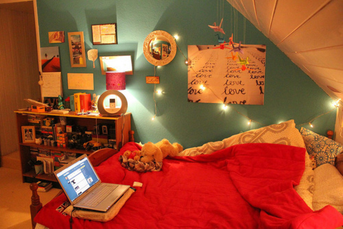 One simple Christmas light string could become a great last minute decoration in any bedroom.