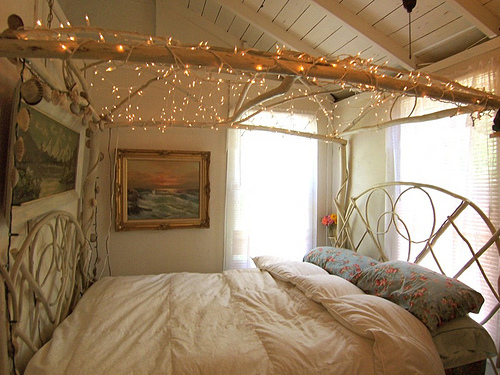Make your bedroom 100 percent more magical with overhead twinkle lights.  That would be possible thanks to multiple strands of lights.