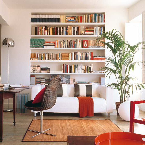 built in bookshelves are great for storing books and don't take any floor space at the same time