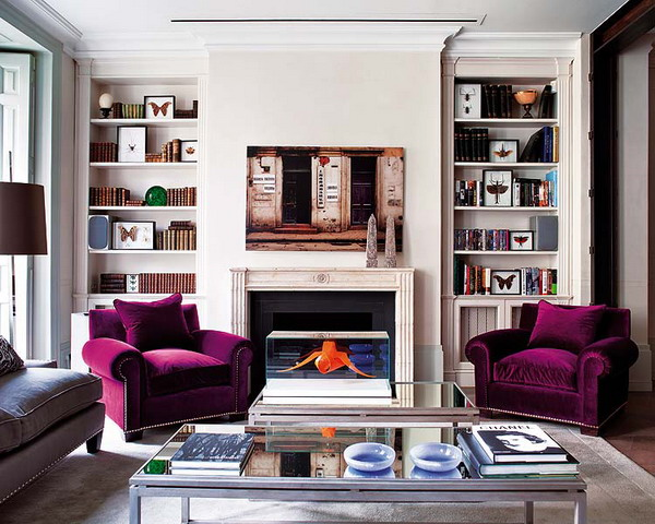 built in bookcases on both sides of the fireplace look nice and are great for storing books and other stuff