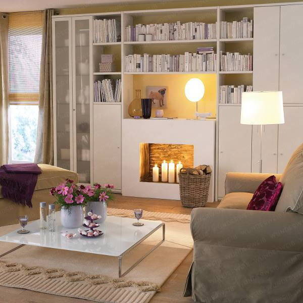 a large bookcase built in over the faux fireplace is a cool and functional idea to use