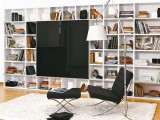a large white bookcase that take a whole wall is a great idea to go for and it looks very modern and up-to-date