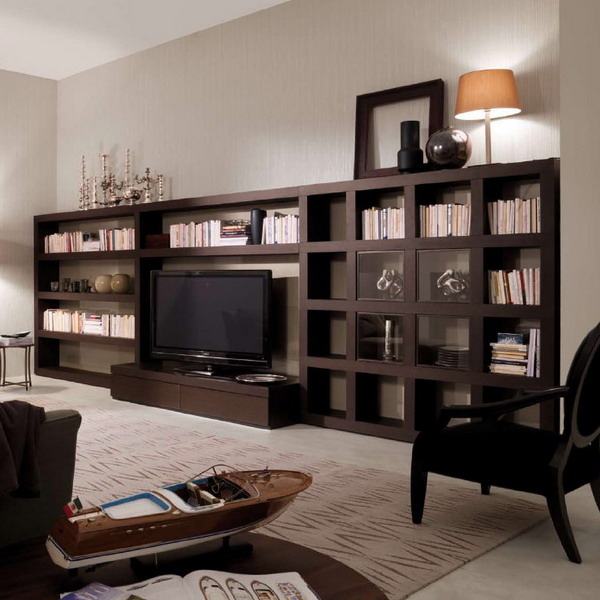 a large dark bookcase with a built in TV unit is a cool idea for a contemporary space