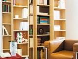 tall plywood bookcases in the living room will form a nice space for reading, if you add some seating furniture