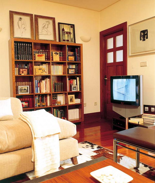 a small yet comfortable dark mid century modern bookcase is a nice idea to create a library in your living room