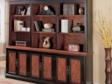a dark bookcase looks very refined and chic, it will add an elegant feel to your space