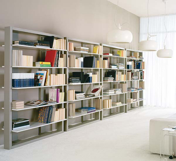 a whole wall taken by bookcases will easily turn your living room into a library and will accommodate many books