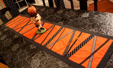 Homemade Ribbon Hallowenn Table Runner