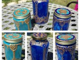 colorful moroccan lanterns with gold and silver