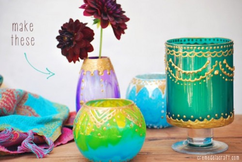 colorful candle holders (via shelterness)