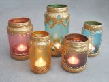 gilded candle lanterns from old jars