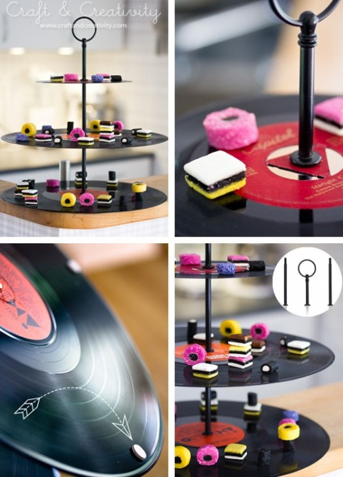 Hot Vinyl Records Cupcake Stand