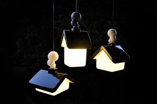 Cool Suspended Lamps Shaped Like Houses