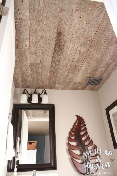 reclaimed barn wood ceiling (via burlapanddenim)