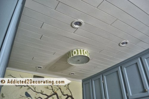 diy wood slat ceiling (via addicted2decorating)
