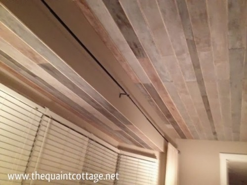 How to cover a ceiling with wood 7 diys shelterness for Faux wood ceiling planks