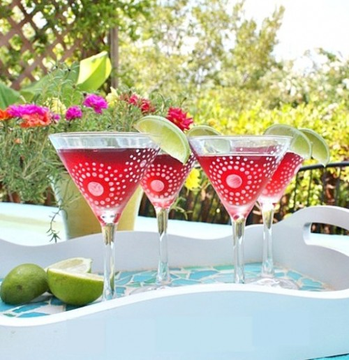 frost stenciled martini glasses