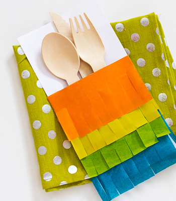 fringed utensil pockets (via confettipop)