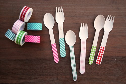 washi tape silverware (via themerrythought)