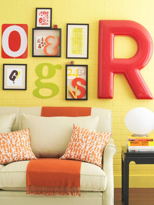 Using letters is also an interesting idea for a picture wall because decorating walls with pictures shouldn't be boring