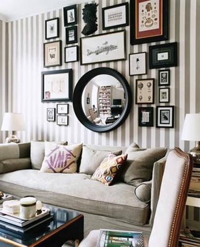 mix pictures with mirrors for practical reasons and to make your living space look bigger - Decorate Pictures