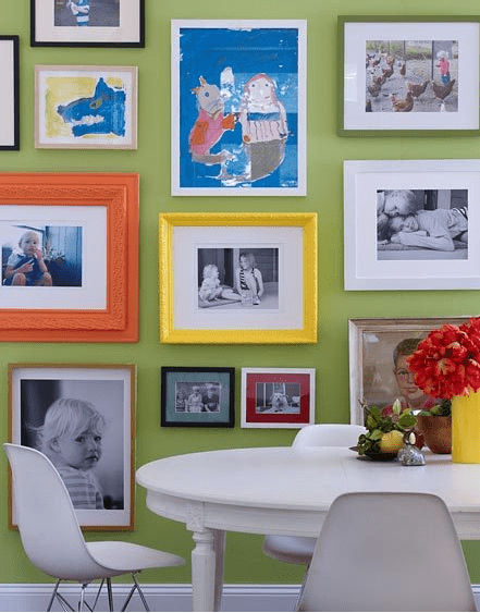 photo frames on a wall could be bright and catchy