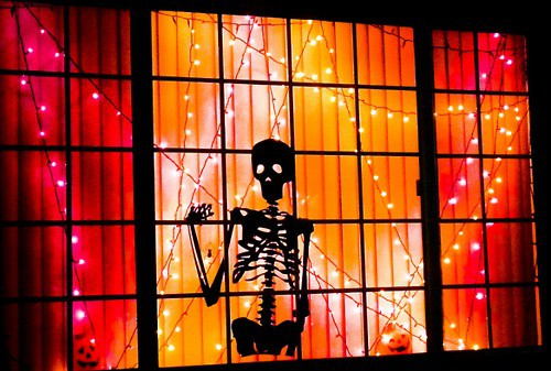 Skeleton silhouette with lights.