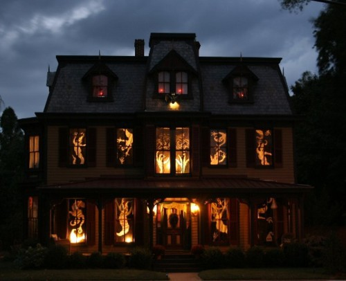 For a more dramatic look use cutouts. They will make your house looks more spooky.
