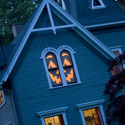 Turning the whole window into a jack-o-lantern isn't that hard!