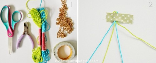 How To Make A Colorful Bracelet Of A Chain And String