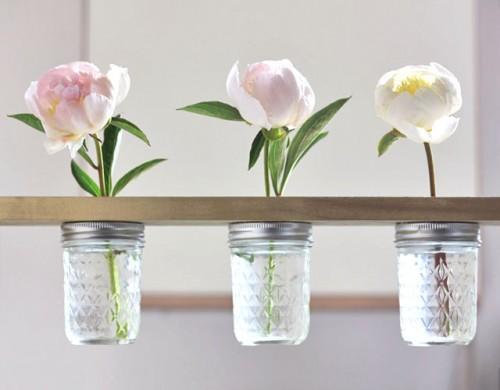How To Make A Mason Jar Flower Shelf