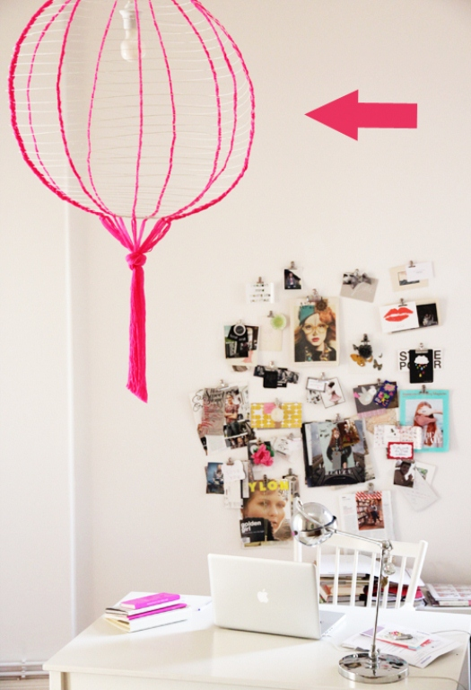 picture of how to make a round paper lamp. Black Bedroom Furniture Sets. Home Design Ideas