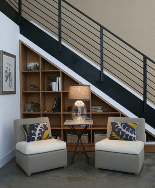 How To Organize Under Stairs Reading Nook