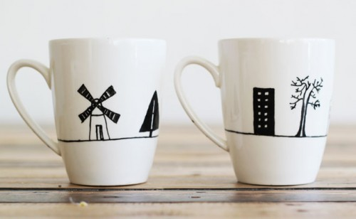 painted porcelain mugs