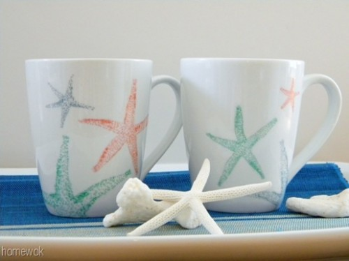 sea patterned mugs