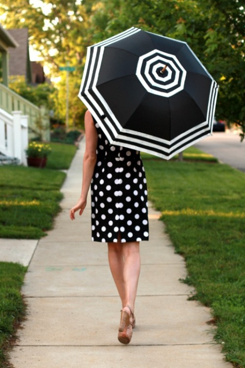 fashionable striped umbrella
