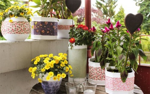 How To Renovate Old Planters With Fabric