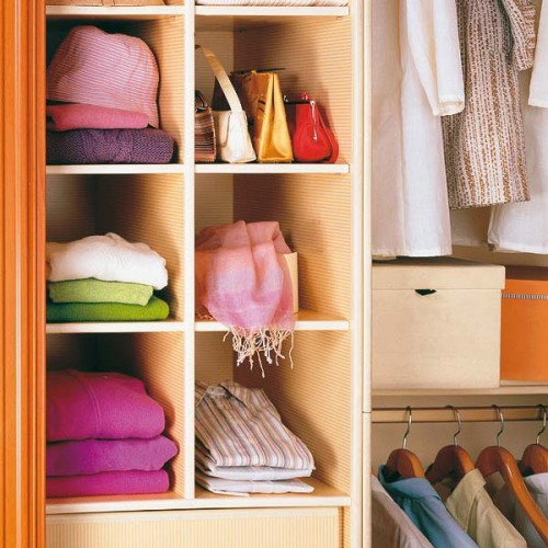 simple open shelving in a closet could be used to organize scarves