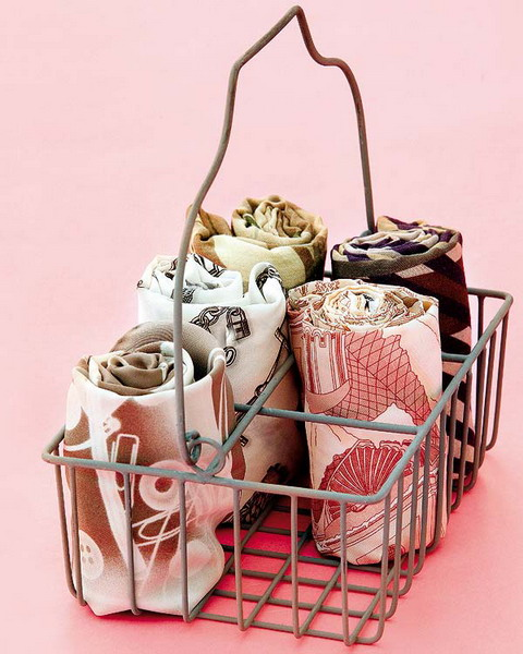 cute idea showing how to display scarves in a vintage metal basket
