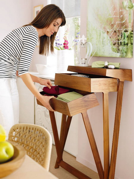 console table is an unusual way but it works for scarves too