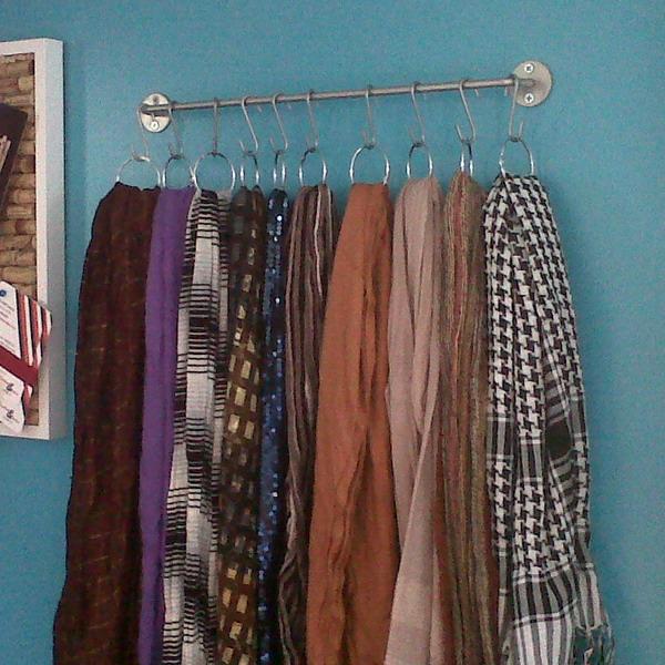 scarf storage organization using curtain tiebacks! (thriftydecorchick ...