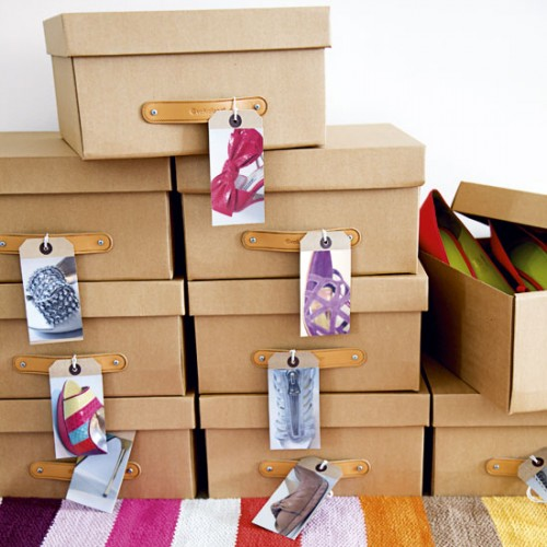 Simple cardboard boxes with photo labels work as a charm