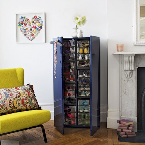 An amazing shoe storage cabinet. Lots of space for a large collection on a small floor space.