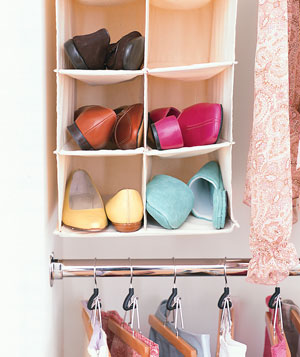 Simple Hanging Shoe Storage That Would Work As In A Closet As In A Hallway.
