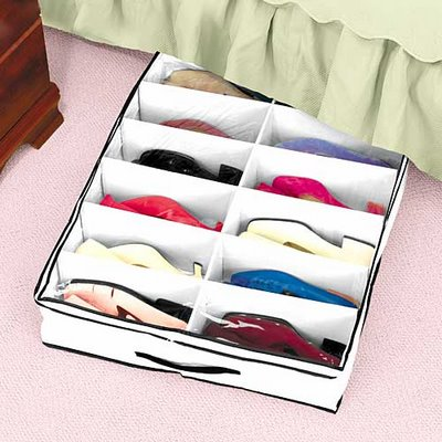 You can create a functional under bed shoe storage.
