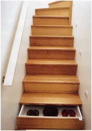Even steps on your staircase could become drawers for shoes.